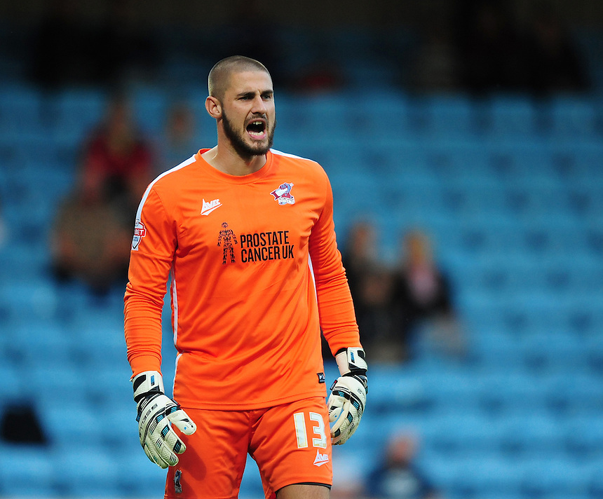 Scunthorpe United's Joe Anyon who saved a first half penalty<br /> <br /> Photographer Chris Vaughan/CameraSport<br /> <br /> Football - Capital One Cup First Round - Scunthorpe United v Barnsley - Tuesday 11th August 2015 - Glanford Park - Scunthorpe<br />  <br /> &copy; CameraSport - 43 Linden Ave. Countesthorpe. Leicester. England. LE8 5PG - Tel: +44 (0) 116 277 4147 - admin@camerasport.com - www.camerasport.com