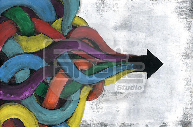 Illustrative concept of multi colored cords into arrow sign symbolizing business networking