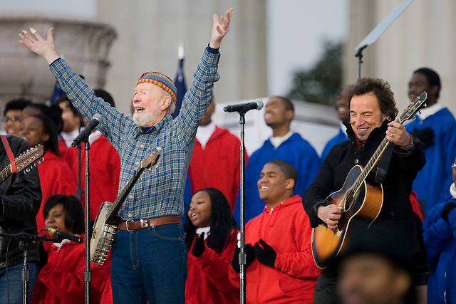 """18 Jan 2009, Washington, DC, USA --- Pete Seeger and Bruce Springsteen sing """"This Land is Your Land"""" during the We Are One: Opening Inaugural Celebration at the Lincoln Memorial in Washington, January 18, 2009. --- Image by © Brooks Kraft/Corbis"""