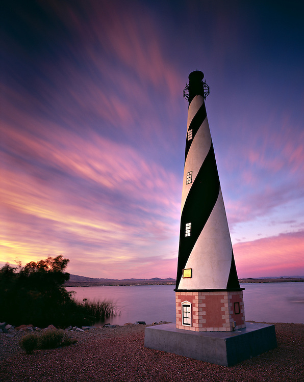 Standing 30' tall, the Cape Hatteras Lighthouse replica in the Lake Havasu State Park is the tallest replica lighthouse along Lake Havasu.