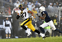 STATE COLLEGE, PA - OCTOBER 27: Iowa TE Noah Fant (87) runs a route. The Penn State Nittany Lions defeated the Iowa Hawkeyes 30-24 on October 27, 2018 at Beaver Stadium in State College, PA. (Photo by Randy Litzinger/Icon Sportswire)