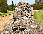Stone lion sculpture terrace garden Bowood House and gardens, Calne, Wiltshire, England, UK