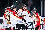 Stockholm 2014-01-08 Ishockey SHL AIK - Lule&aring; HF :  <br />   Lule&aring;s Daniel Gunnarsson har gjort 1-0 och jublar med lagkamrater Lule&aring;s Johan Fransson och Lule&aring;s Linus Klasen <br /> (Foto: Kenta J&ouml;nsson) Nyckelord:  jubel gl&auml;dje lycka glad happy