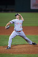 Peoria Javelinas pitcher Nick Routt (27), of the Cincinnati Reds organization, during a game against the Salt River Rafters on October 11, 2016 at Salt River Fields at Talking Stick in Scottsdale, Arizona.  The game ended in a 7-7 tie after eleven innings.  (Mike Janes/Four Seam Images)