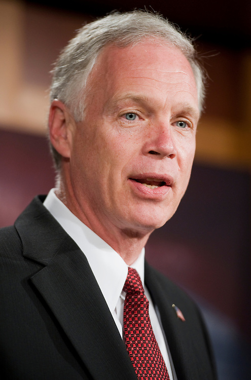 UNITED STATES - MAY 10:  Sen. Ron Johnson, R-Wisc., speaks at a news conference in the Capitol on their proposal to balance the budget.  (Photo By Tom Williams/Roll Call)