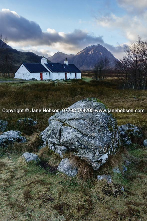 Glencoe, Highlands, Scotland, UK. 08.01.2019. Black Rock Cottage, on a winter's afternoon, Glencoe, HIghlands, Scotland, UK. Photograph © Jane Hobson.
