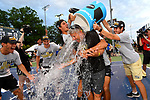 WINSTON SALEM, NC - MAY 22: Head Coach Tony Bresky of the Wake Forest Demon Deacons gets a water bath during the Division I Men's Tennis Championship held at the Wake Forest Tennis Center on the Wake Forest University campus on May 22, 2018 in Winston Salem, North Carolina. (Photo by Jamie Schwaberow/NCAA Photos via Getty Images)