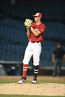TEMPORARY UNEDITED FILE:  Image may appear lighter/darker than final edit - all images cropped to best fit print size.  <br /> <br /> Under Armour All-American Game presented by Baseball Factory on July 20, 2018 at Wrigley Field in Chicago, Illinois.  (Mike Janes/Four Seam Images) Hunter Barco is a pitcher from The Bolles School in Jacksonville, Florida committed to Florida.