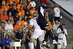29 May 2012: Carolina's Amir Lowery (right) and Los Angeles' Chad Barrett (9) challenge for the ball. The Carolina RailHawks (NASL) defeated the Los Angeles Galaxy (MLS) 2-1 at WakeMed Soccer Stadium in Cary, NC in a 2012 Lamar Hunt U.S. Open Cup third round game.