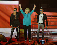 MIAMI FL - OCTOBER 20: Jennifer Lopez, Hillary Clinton and Marc Anthony on stage at the Jennifer Lopez Gets Loud for Hillary Clinton at GOTV Concert at The Bayfront Park Amphitheatre on October 29, 2016 in Miami, Florida. Credit: mpi04/MediaPunch