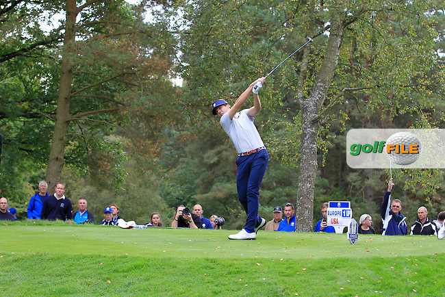 Sam Burns (USA) on the 18th tee during Day 2 Singles for the Junior Ryder Cup 2014 at Blairgowrie Golf Club on Tuesday 23rd September 2014.<br /> Picture:  Thos Caffrey / www.golffile.ie