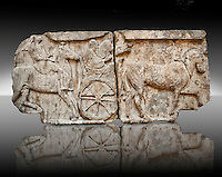 Procession of Chariot & Horsemen freeze  from the Heros Shrine of the Acropolis of Xanthos, thought to be the shrines of legendary warriors of the trojan wars built by King Kuprlli (480 - 440 B.C). Xanthos was under Persian rule at the time & the freeze has the static style of persian sculpture with a Greek style.  From Xanthos, UNESCO World Heritage site, south west Turkey. A British Museum exhibit GR 1848-16-20.17-19 (sculptures B311-313).