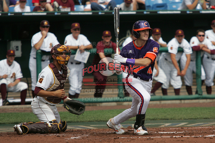Clemson's John Hinson in Game 4 of the NCAA Division One Men's College World Series on Monday June 21st, 2010 at Johnny Rosenblatt Stadium in Omaha, Nebraska.  (Photo by Andrew Woolley / Four Seam Images)
