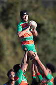 Moti Funaki takes uncontested ball at a lineout. Counties Manukau Premier Club Rugby game between Onewhero and Waiuku, played at Onewhero on Saturday May 26th 2018. Onewhero won the game 24 - 20 after leading 17 - 12 at halftime. <br /> Onewhero Silver Fern Marquees 24 -Vaughan Holdt, Filipe Pau, Sean Bagshaw tries, Rhain Strang 3 conversions, Rhain Strang penalty.<br /> Waiuku Brian James Contracting 20 - Christian Walker, Fuifatu Asomua, Aaron Yuill tries, Christian Walker conversion, Christian Walker penalty .<br /> Photo by Richard Spranger.