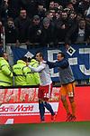 10.03.2019,  GER; 2. FBL, FC St. Pauli vs Hamburger SV ,DFL REGULATIONS PROHIBIT ANY USE OF PHOTOGRAPHS AS IMAGE SEQUENCES AND/OR QUASI-VIDEO, im Bild Pierre-Michel Lasogga (Hamburg #10) schiesst das 1-0 fuer Hamburg und jubelt mit Torhueter Tom Mickel (Hamburg #12) Foto © nordphoto / Witke