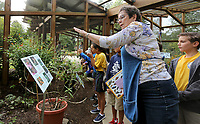 NWA Democrat-Gazette/DAVID GOTTSCHALK Students from Immaculate Conception Elementary School in Fort Smith listen to Betty Nichols, Butterfly Nanny at the Botanical Garden of the Ozarks, Friday, October 4, 2019, inside the Butterfly House during Butterfly Days 2019 at the garden in Fayetteville. The two day event featured learning stations that covered subjects that included butterfly life cycles, structures and functions of insects.