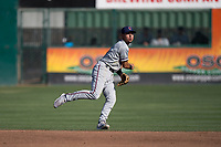 Lancaster JetHawks shortstop Alan Trejo (2) makes a throw to first base during a California League game against the San Jose Giants at San Jose Municipal Stadium on May 12, 2018 in San Jose, California. Lancaster defeated San Jose 7-6. (Zachary Lucy/Four Seam Images)