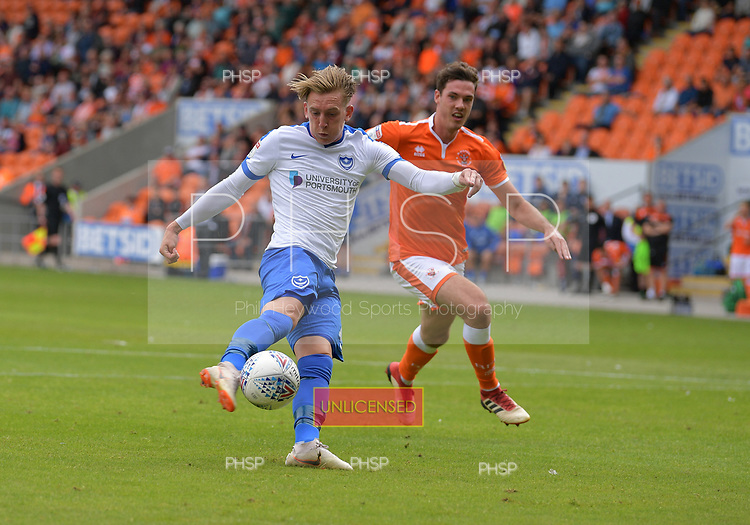 11/08/2018 Sky Bet League 1 Blackpool v Portsmouth<br /> Ronan Curtis  scores Portsmouth's second goal