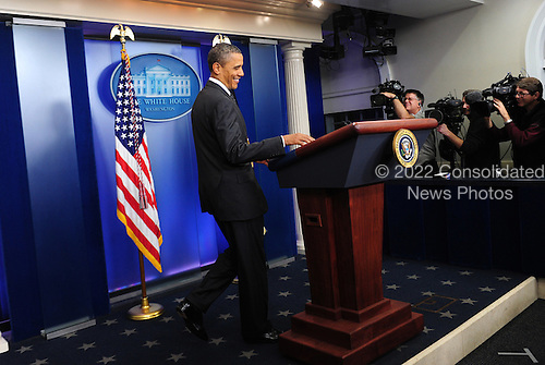 "United States President Barack Obama arrives in the Brady Press Briefing Room to make a statement regarding the failure of Congress' deficit reduction super committee in the Brady Press Briefing Room of the White House in Washington on November 21, 2011. Obama blamed Republicans for the failure of the process meant to cut $1.2 trillion from the budget but called on Congress to ""keep trying.""  .Credit: Kevin Dietsch - Pool via CNP"