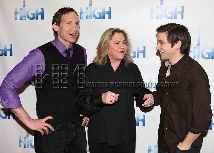 "Stephen Kunken & Kathleen Turner & Evan Jonigkeit.attend the Meet & Greet the cast of Broadway's ""High"" at the Ripley Grier Rehearsal Studio in New York City."