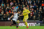 Daniel Rabaseda Antolin, Raba, of Villarreal CF (R) fights for the ball with GonCalo Manuel Ganchinho Guedes of Valencia CF (L) during the La Liga 2017-18 match between Valencia CF and Villarreal CF at Estadio de Mestalla on 23 December 2017 in Valencia, Spain. Photo by Maria Jose Segovia Carmona / Power Sport Images