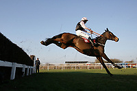 Race winner Upham Atom ridden by Liam Treadwell jumps the last in the ladbrokes.com Kent National (Handicap Chase)