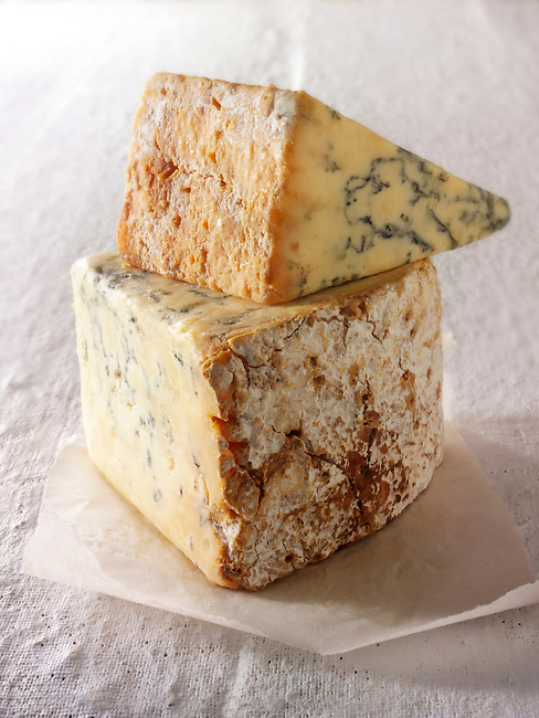 British Blue and white stilton cheese photos