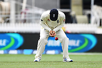 3rd December, Hamilton, New Zealand;  England's Joe Denly drops a chance to dismiss Kane Williamson during play day 5 of the 2nd test cricket match between New Zealand and England at Seddon Park, Hamilton, New Zealand.