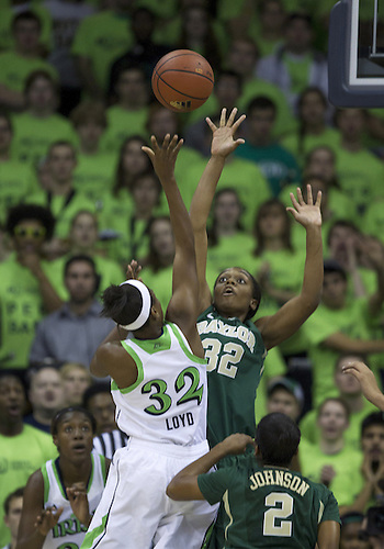 December 05, 2012:  Notre Dame guard Jewell Loyd (32) goes up for a shot as Baylor forward Brooklyn Pope (32) defends during NCAA Women's Basketball game action between the Notre Dame Fighting Irish and the Baylor Bears at Purcell Pavilion at the Joyce Center in South Bend, Indiana.  Baylor defeated Notre Dame 73-61.