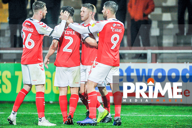 Fleetwood Town's forward James Husband (26) joins the celebration goingh 2-0 up during the Sky Bet League 1 match between Fleetwood Town and Coventry City at Highbury Stadium, Fleetwood, England on 27 November 2018. Photo by Stephen Buckley / PRiME Media Images.