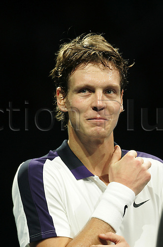 24.11.2010 Barclays ATP World Tour Finals from the O2 in London, day four. Thomas Berdych after beating Andy Roddick