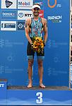 06.07.2019,  Innenstadt, Hamburg, GER, Hamburg Wasser World Triathlon, Elite Mainner, im Bild der Drittplatzierte Jelle Geens (BEL) bei der Siegerehrung Foto © nordphoto / Witke *** Local Caption ***