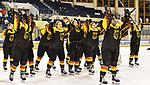 06.01.2020, BLZ Arena, Füssen / Fuessen, GER, IIHF Ice Hockey U18 Women's World Championship DIV I Group A, <br /> Deutschland (GER) vs Ungarn (HUN), <br /> im Bild Jennifer Miller (GER, #14) freut sich mit ihrem Team ueber den Sieg<br /> <br /> Foto © nordphoto / Hafner