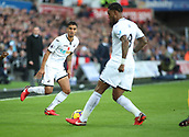 4th November 2017, Liberty Stadium, Swansea, Wales; EPL Premier League football, Swansea City versus Brighton and Hove Albion; Kyle Naughton of Swansea City plays a 1-2 to Leroy Fer of Swansea City