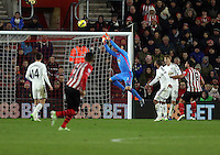 Pictured: Lukasz Fabianski, goalkeeper for Swansea catches the ball Sunday 01 February 2015<br />