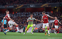 Simon Zoller of FC Koln under pressure from Per Mertesacker (4) & Rob Holding of Arsenal during the UEFA Europa League match between Arsenal and FC Koln at the Emirates Stadium, London, England on 14 September 2017. Photo by Andrew Aleks.