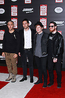 HOLLYWOOD, LOS ANGELES, CA, USA - NOVEMBER 04: Joe Trohman, Pete Wentz, Patrick Stump, Andy Hurley, Fall Out Boy arrive at the Los Angeles Premiere Of Disney's 'Big Hero 6' held at the El Capitan Theatre on November 4, 2014 in Hollywood, Los Angeles, California, United States. (Photo by David Acosta/Celebrity Monitor)