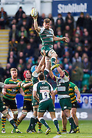 Mike Fitzgerald of Leicester Tigers wins the ball at a lineout. Aviva Premiership match, between Northampton Saints and Leicester Tigers on April 16, 2016 at Franklin's Gardens in Northampton, England. Photo by: Patrick Khachfe / JMP