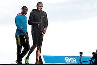 RIO DE JANEIRO; RJ; 29 DE MARÇO 2013 - Daniel Bailey e Usan Bolt treinam na praia de Copacabana durante a tarde desta sexta-feira visando o record dos 150m que tentará bater no próximo domingo. FOTO: NÉSTOR J. BEREMBLUM - BRAZIL PHOTO PRESS.