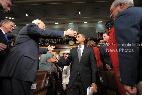 US Democratic presidential hopeful Illinois Senator Barack Obama as he arrives to attend US President George W. Bush's final State of the Union address in Washington 28 January 2008.           .Credit: Tim Sloan - Pool via CNP