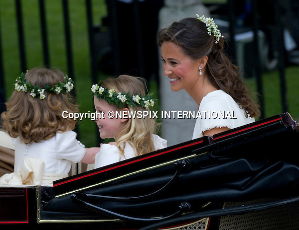 """PRINCE WILLIAM AND CATHERINE MIDDLETON _pippa Middleton and bridesmaids.Marry at Westminster Abbey,London_29/04/2011.Mandatory Photo Credit: ©Dias/Newspix International..**ALL FEES PAYABLE  TO: """"NEWSPIX INTERNATIONAL""""**..PHOTO CREDIT MANDATORY!!: NEWSPIX INTERNATIONAL(Failure to credit will incur a surcharge of 100% of reproduction fees)..IMMEDIATE CONFIRMATION OF USAGE REQUIRED:.Newspix International, 31 Chinnery Hill, Bishop's Stortford, ENGLAND CM23 3PS.Tel:+441279 324672  ; Fax: +441279656877.Mobile:  0777568 1153.e-mail: info@newspixinternational.co.uk"""