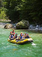 Austria, Styria, Palfau: rafting on river Salza | Oesterreich, Steiermark, Palfau: Rafting im Schlauchboot auf der Salza
