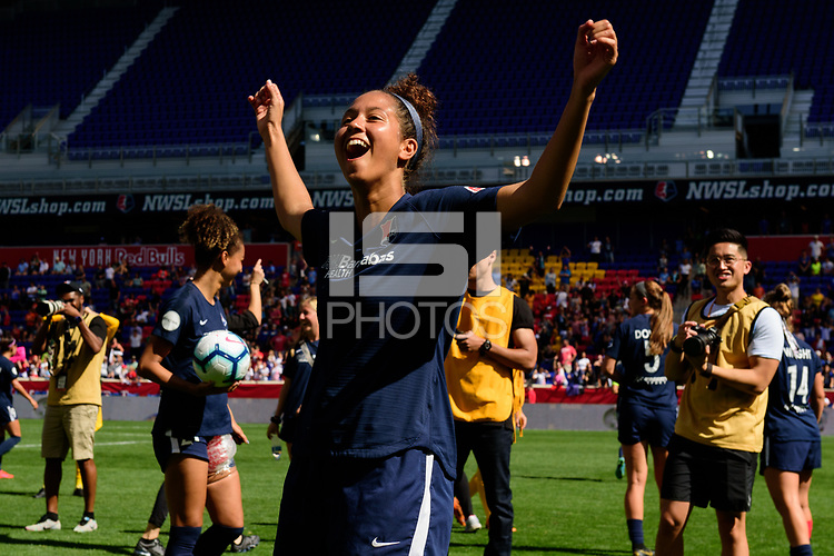 HARRISON, NJ - SEPTEMBER 29: Domi Richardson #17 of Sky Blue FC celebrates with fans after the match during a game between Orlando Pride and Sky Blue FC at Red Bull Arena on September 29, 2019 in Harrison, New Jersey.