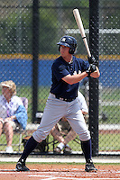 New York Yankees minor league player infielder Casey Stevenson #28 at bat during a game vs the Toronto Blue Jays at the Englebert Minor League Complex in Dunedin, Florida;  March 21, 2011.  Photo By Mike Janes/Four Seam Images