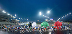The peloton in the rain during Stage 4 Yas Island Stage of the 2017 Abu Dhabi Tour, 143km with 26 laps of 5.5km of the Yas Marina Circuit, Abu Dhabi. 26th February 2017.<br /> Picture: ANSA/Claudio Peri | Newsfile<br /> <br /> <br /> All photos usage must carry mandatory copyright credit (&copy; Newsfile | ANSA)