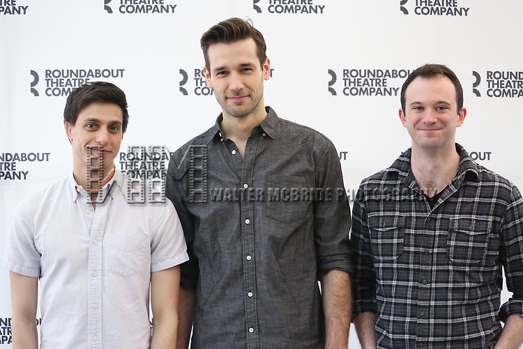 Gideon Glick, John Behlman and Luke Smith attend the cast photo call for 'Significant Other' at the Roundabout Theatre rehearsal hall on April 24, 2015 in New York City.