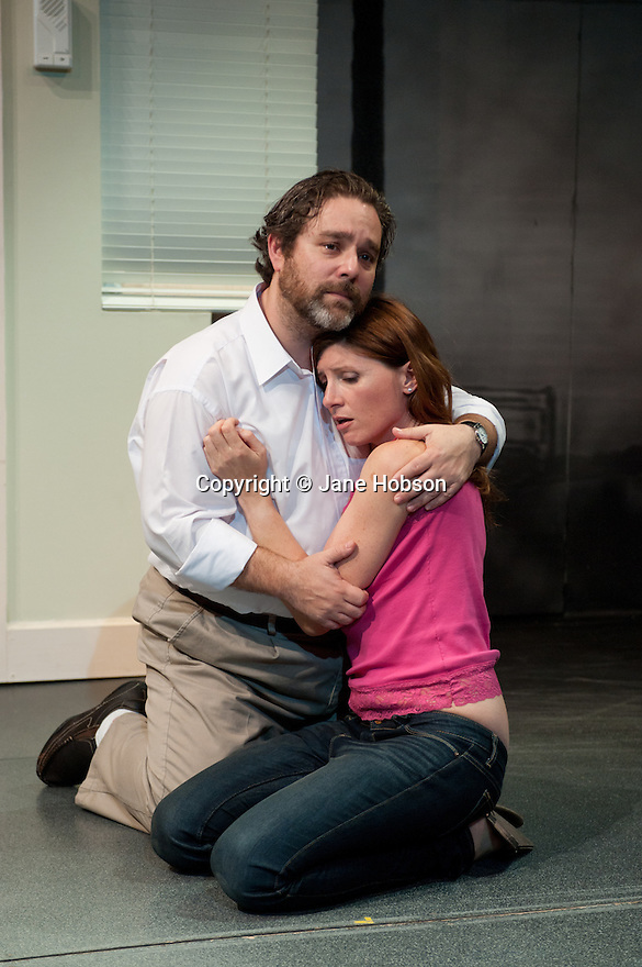 """London, UK. 28/09/2011. """"Terrible Advice"""" by Saul Rubinek opens at the Menier Chocolate Factory. Starring Caroline Quentin, Scott Bakula, Andy Nyman and Sharon Horgan. L to R: Andy Nyman (as Stinky/Stanley) and Sharon Horgan (as Delila).  Photo credit: Jane Hobson"""