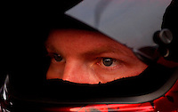 NASCAR Winston Cup driver Dale Earnhardt Jr. peers out from inside the protection of his helmet as he focuses his attention on qualifying for the Winston at Lowe?s Motor Speedway.