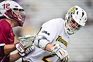 Towson, MD - May 6, 2017: UMASS Minutemen Dan Muller (18) defends Towson Tigers Mike Lynch (27) during CAA Championship game between Towson and UMASS at Minnegan Field at Johnny Unitas Stadium  in Towson, MD. (Photo by Phillip Peters/Media Images International)