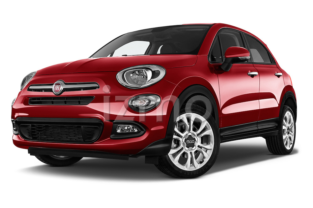 Stock pictures of low aggressive front three quarter view of 2016 Fiat 500X-City-Look Pop-Star 5 Door Suv Low Aggressive